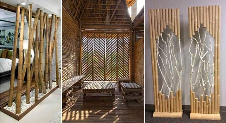 Partisi dari susunan batang bambu